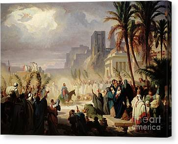 The Entry Of Christ Into Jerusalem Canvas Print by Louis Felix Leullier