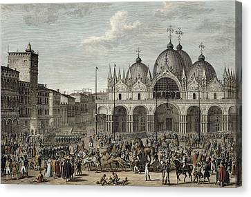 The Entry Of The French Into Venice Canvas Print by Antoine Charles Horace Vernet