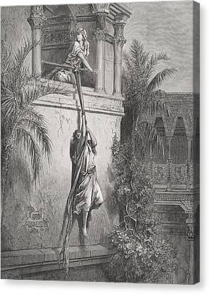 The Escape Of David Through The Window Canvas Print by Gustave Dore