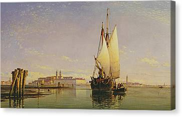 The Euganean Hills And The Laguna Of Venice - Trabaccola Waiting For The Tide Sunset Canvas Print