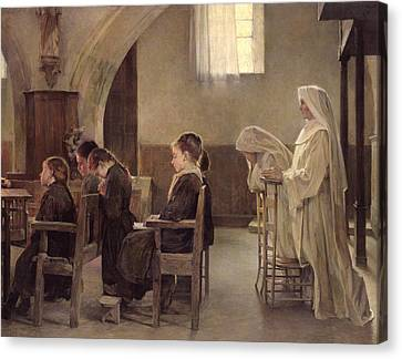 The Eve Of The First Communion Canvas Print by Henri Alphonse Louis Laurent-Desrousseaux