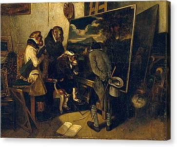 The Experts Canvas Print by Alexandre-Gabriel Decamps