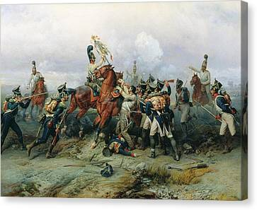 The Exploit Of The Mounted Regiment In The Battle Of Austerlitz, 1884 Oil On Canvas Canvas Print by Bogdan Willewalde