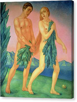 The Expulsion From Paradise Canvas Print by Kuzma Sergeevich Petrov-Vodkin