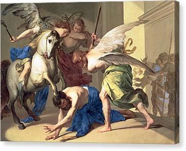 The Expulsion Of Heliodorus From The Temple Canvas Print by Bernardo Cavallino
