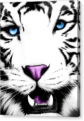 The Eye Of The White Tiger Canvas Print by Gina Dsgn