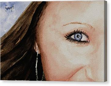 Beautiful Woman Face Canvas Print - The Eyes Have It - Mckayla by Sam Sidders