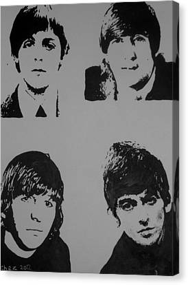 Canvas Print featuring the painting The Fab Four by Cherise Foster