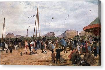 The Fairgrounds At Porte De Clignancourt Paris Canvas Print by Victor Gabriel Gilbert