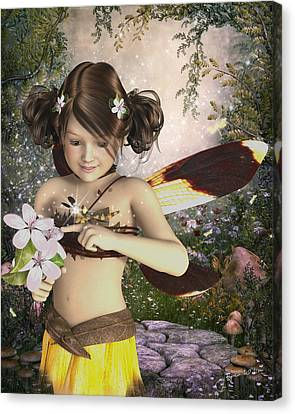 The Fairy And The Dragonfly Canvas Print