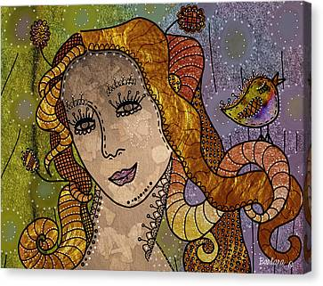 Canvas Print featuring the digital art The Fairy Godmother by Barbara Orenya