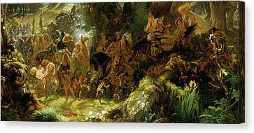 Elves Canvas Print - The Fairy Raid by Sir Joseph Noel Paton