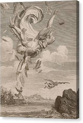 Angels Watching Canvas Print - The Fall Of Icarus, 1731 by Bernard Picart