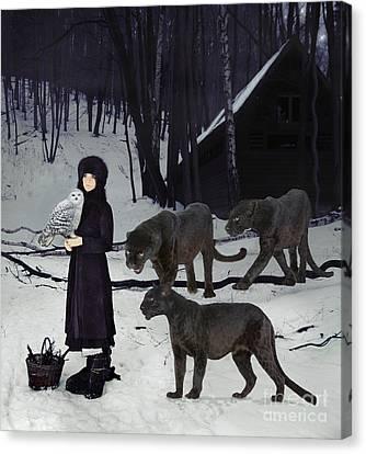 Snowy Night Night Canvas Print - The Family by Maureen Tillman