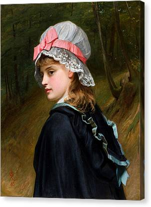 The Farmers Daughter Oil On Canvas Monogrammed And Dated 1883 Canvas Print by MotionAge Designs