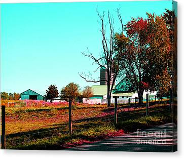 The Farmland In Autumn Canvas Print by Tina M Wenger