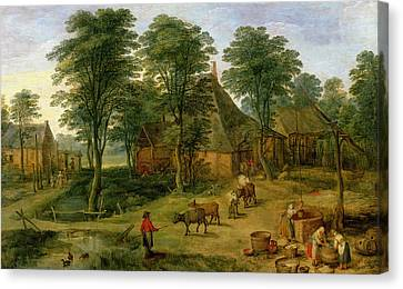 The Farmyard Canvas Print by Jan the Younger Brueghel