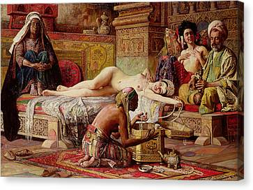 Boudoir Canvas Print - The Favorite Of The Harem by Gyula Tornai