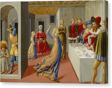 The Feast Of Herod And The Beheading Of Saint John The Baptist Canvas Print by Benozzo di Lese di Sandro Gozzoli