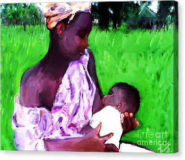 Canvas Print featuring the painting The Feeding 2 by Vannetta Ferguson