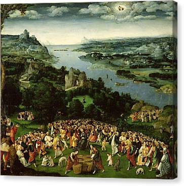 The Feeding Of The Five Thousand Oil On Panel Canvas Print by Joachim Patenier or Patinir