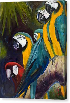 Blue And Gold Macaw Canvas Print - The Feisty One by Billie Colson