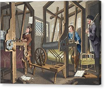 The Fellow Prentices At Their Looms Canvas Print by William Hogarth