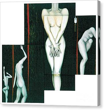 Canvas Print featuring the painting The Female Trunks by Fei A