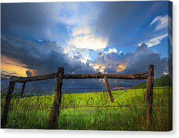 The Fence At Cades Cove Canvas Print by Debra and Dave Vanderlaan