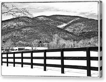 Canvas Print featuring the photograph The Fenceline B W by Jemmy Archer