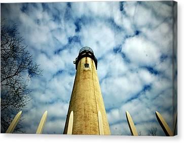 The Fenwick Light And A Mackerel Sky Canvas Print