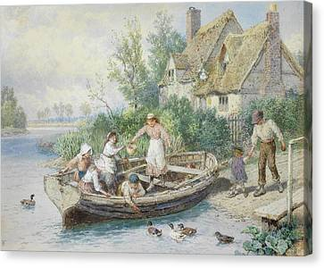 The Ferry Canvas Print by Myles Birket Foster