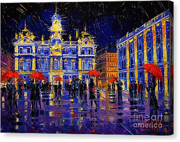The Festival Of Lights In Lyon France Canvas Print by Mona Edulesco