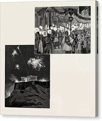 The Festivities In Honour Of The Greek Royal Wedding Canvas Print by Litz Collection