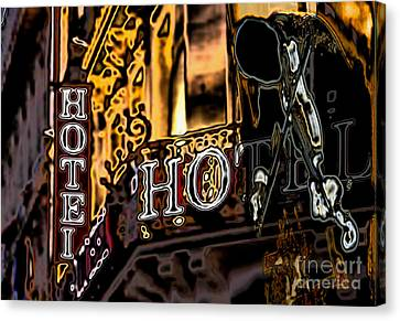 Canvas Print featuring the digital art The Fiddler In The Hotel by Mojo Mendiola