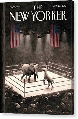 Donkey Canvas Print - The Fight Begins by Eric Drooker