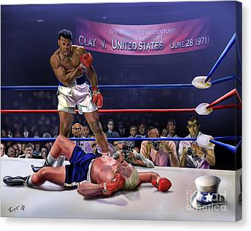 The Fight Of The Century - June 28 1971 C-vs-us Canvas Print by Reggie Duffie