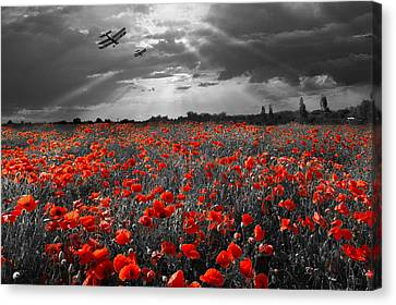 The Final Sortie Aircraft Over Field Of Poppies Wwi Version Canvas Print by Gary Eason