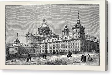 The Fire At The Escurial Palace The Palace Canvas Print by English School