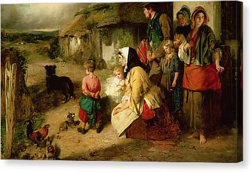 The First Break In The Family Canvas Print by Thomas Faed