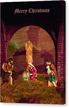 The First Christmas - Greeting Card Canvas Print by Chris Flees