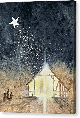 The First Christmas Canvas Print by Jackie Mueller-Jones