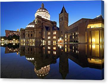 The First Church Of Christ At Twilight Canvas Print by Juergen Roth