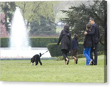 Malia Obama Canvas Print - The First Family And Bo by JP Tripp