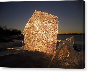 Canvas Print featuring the photograph The First Ice ... by Juergen Weiss