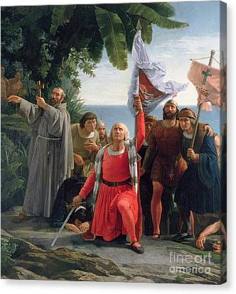 The First Landing Of Christopher Columbus In America Canvas Print by  Dioscoro Teofilo Puebla Tolin