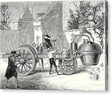 Old Car Canvas Print - The First Steam Car Tested By The Inventor Cugnot by Cugnot, Nicolas-joseph (1725-1804), English