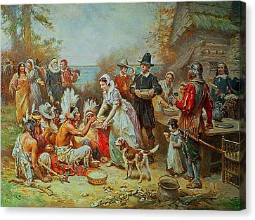 Celebrate Canvas Print - The First Thanksgiving by Jean Leon Gerome Ferris