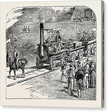 The First Train On The Stockton And Darlington Railway Canvas Print by English School
