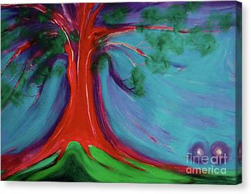 Canvas Print featuring the painting The First Tree By Jrr by First Star Art